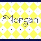Personalized Blue & Gold Diamond Note Cards