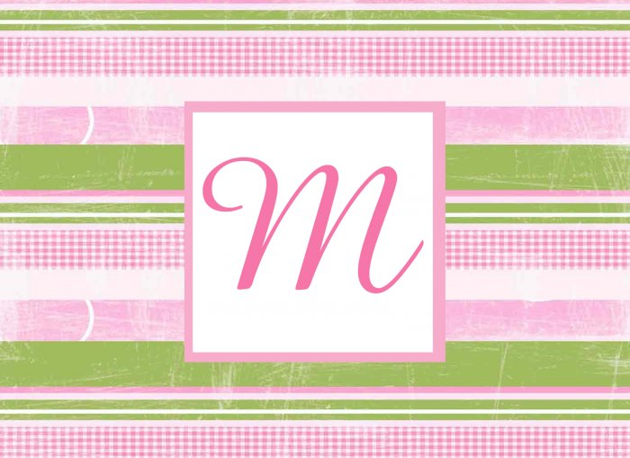 Personalized Pink & Green Stripe Monogram Note Cards