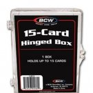 6 BCW 15 Count Hinged Plastic Baseball Trading Card Storage Boxes hinge box