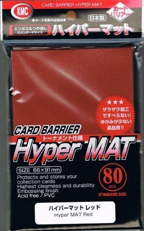 KMC HYPER MAT RED 80 Standard Size Card Barrier Sleeves Deck Protector Matte
