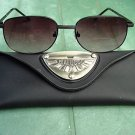 BIFOCAL LARGE BLACK METAL FRAME READING SUNGLASSES GLASSES WITH CASE +1.75