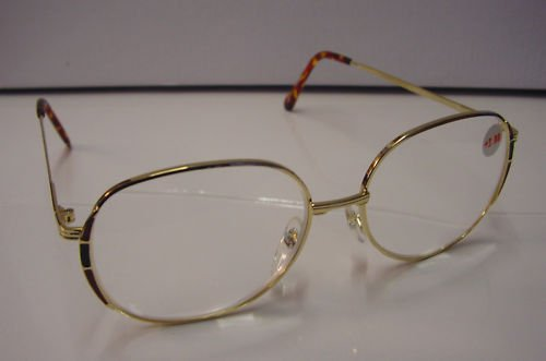 NEW LARGE READING GLASSES GOLD METAL FRAME WITH PINK & BLACK TRIM +3.5 5010
