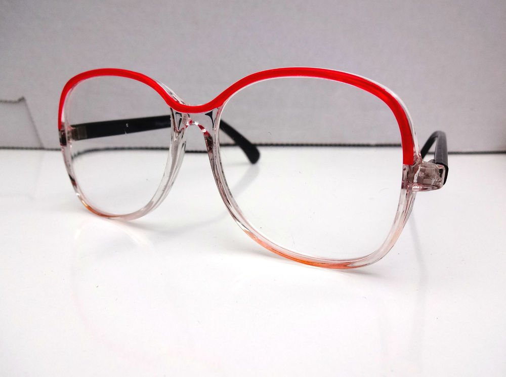 FUNKY RETRO READING GLASSES RED & CLEAR FRAMES +2.25