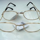 2 PAIRS OF READING GLASSES PALE GOLD METAL FRAMES +2.0 M141