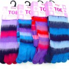 3 PAIRS LADIES GIRLS STRIPEY SOFT KNITTED TOE SOCKS PINKS BLUES 4-7 EU 37-40
