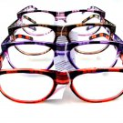 4 PAIRS OF CHECK PATTERN WAYFARER STYLE READING GLASSES +1.0 D529