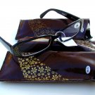 3 PAIRS OF STYLISH READING GLASSES DESIGNER BROWN GOLD +2.0 D503
