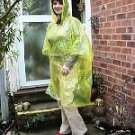 4 WATERPROOF PONCHOS CAPE MAC FESTIVALS YELLOW DISPOSABLE EMERGENCY RAINCOAT