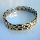 NEW MAGNETIC THERAPY POLISHED GOLD METAL & STAINLESS STEEL BRACELET UNISEX