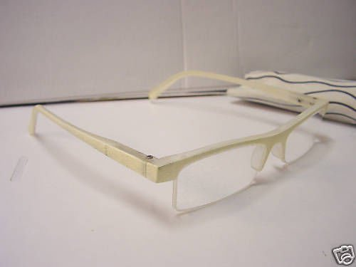 STYLISH READING GLASSES SPRUNG ARM CREAM +2.5 D509