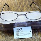 READING GLASSES GUNMETAL FRAMES + CASE +2.50 TY102