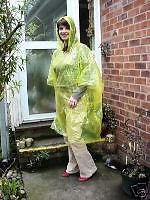 2 WATERPROOF PONCHOS CAPE MAC FESTIVALS YELLOW DISPOSABLE EMERGENCY RAINCOAT