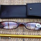 READING GLASSES BROWN FRAMES + 3.0 STRENGTH PEN & POUCH
