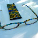 NEW FASHION READING GLASSES & MATCHING POUCH YELLOW BLUE FLORAL DESIGN +2.75