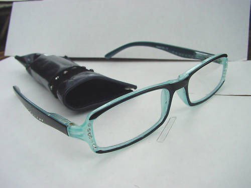 READING GLASSES SPRUNG ARM DIAMANTE STUDDED BLUE +1.0