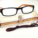 BLACK BROWN READING GLASSES WITH NECK CORD AND CASE +1.0 D523