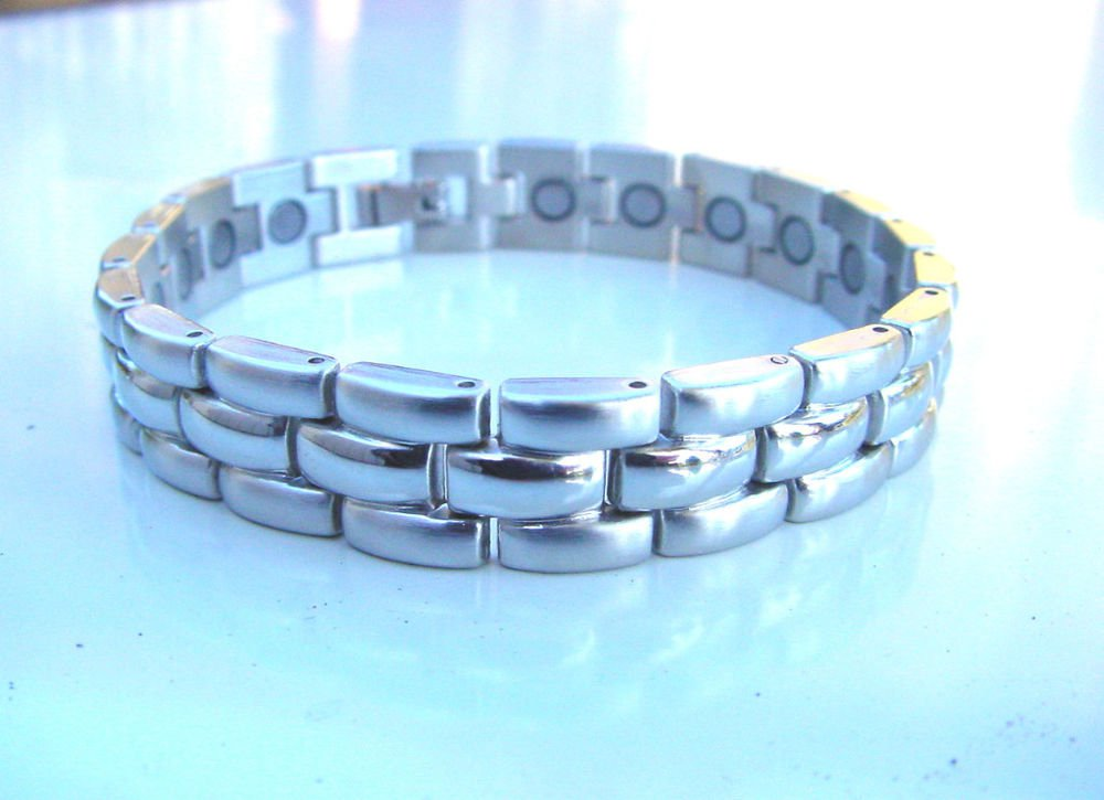 NEW MAGNETIC THERAPY BRUSHED & POLISHED STAINLESS STEEL HEALING BRACELET UNISEX