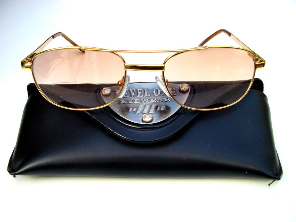 BIFOCAL LARGE GOLD METAL FRAME READING SUNGLASSES GLASSES WITH CASE + 1.0