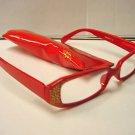 STYLISH READING GLASSES DESIGNER RED GOLD +3.0 D503