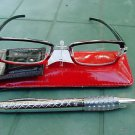 READING GLASSES RED/BLACK + 3.0 STRENGTH PEN & POUCH