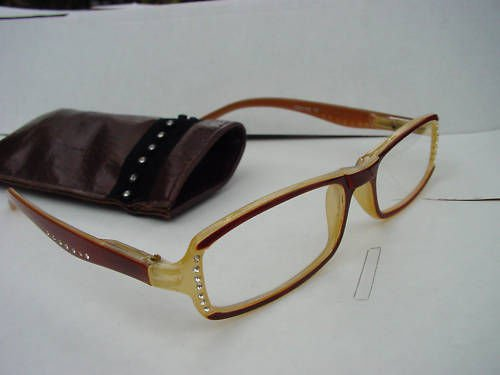 READING GLASSES SPRUNG ARM DIAMANTE STUDDED BROWN +3.0