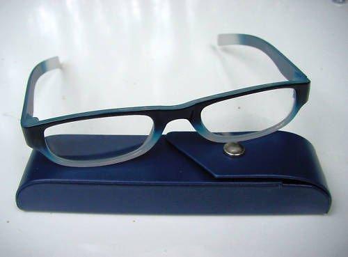 READING GLASSES BLUE/WHITE + 1.0 STRENGTH & CASE D500