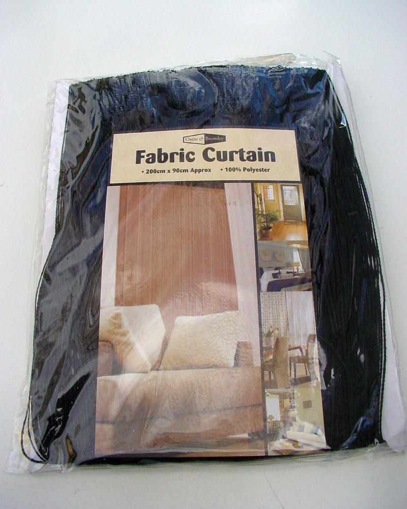 FABRIC STRINGS DOOR OR WINDOW CURTAIN PRIVACY & INSECT DETERRENT BLACK