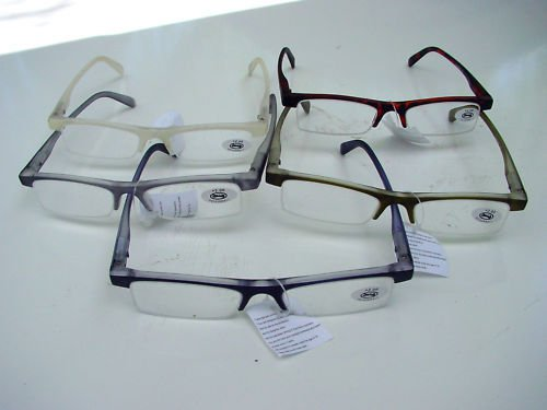 5 PAIRS STYLISH READING GLASSES 5 COLOURS +3.0 D509
