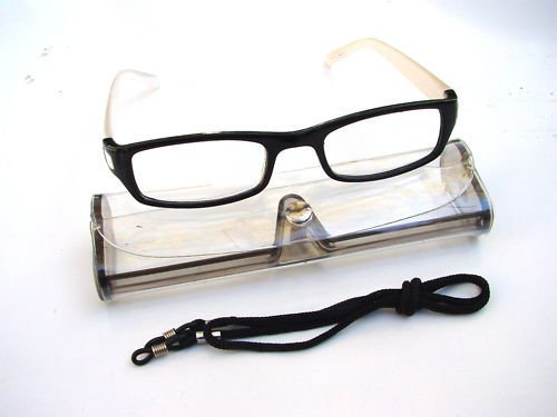 BLACK WHITE READING GLASSES WITH NECK CORD & CASE +3.0 D523