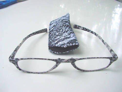 NEW SNAKESKIN PATTERN READING GLASSES & POUCH +1.5 D519
