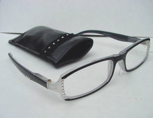 READING GLASSES SPRUNG ARM DIAMANTE STUDDED BLACK +2.0