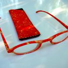 NEW FASHION READING GLASSES & MATCHING POUCH ZESTY ORANGE +3.0