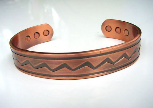 MAGNETIC SOLID COPPER THERAPY ZIG ZAG PATTERN BRACELET BANGLE UNISEX