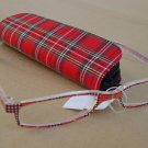 2 PAIRS RED TARTAN READING GLASSES +2.5 PLUS CASE D507