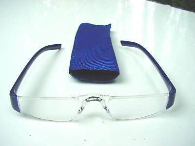 NEW BLUE RIMLESS READING GLASSES & POUCH +3.0 D512