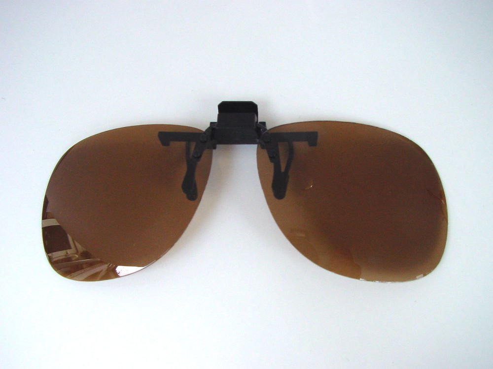 NEW 100% UV POLARISED CLIP ON GLASSES SUNGLASSES CAT 2 BROWN LENSES (L-C121)