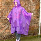 NEW HOODED UNISEX RAIN MAC PONCHO CAPE REUSABLE PURPLE