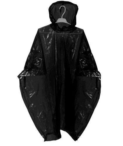10 WATERPROOF PONCHOS CAPE MAC FESTIVALS BLACK DISPOSABLE EMERGENCY RAINCOAT