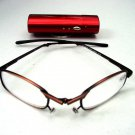FOLDING METAL FRAME READING GLASSES RED METAL CASE +2.5 OR50