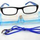 BLACK BLUE READING GLASSES WITH NECK CORD & CASE +2.0 D523