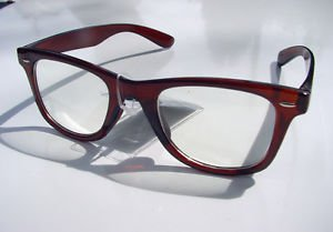 WAYFARER STYLE CLEAR LENS GLASSES DARK BROWN FRAMES RETRO