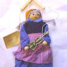 """GIRL PUPPET MARIONETTE WITH FIDDLE  9"""" HIGH COLLECTABLE"""
