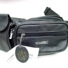LARGE PRACTICAL BLACK LEATHER BUM HIP BAG WITH PHONE POCKET HOLIDAY UNISEX