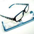 NEW BLUE BLACK ZEBRA ARM READING GLASSES & CASE +3.0
