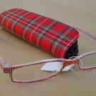 RED TARTAN CHECK READING GLASSES +2.0 PLUS CASE D507
