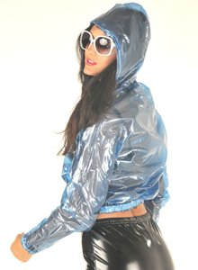 NEW TOP QUALITY PVC BOMBER JACKET STYLE FESTIVAL RAINCOAT CLEAR BLUE LARGE