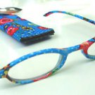FASHION READING GLASSES & MATCHING CASE BLUE WITH STRAWBERRIES DESIGN +2.25