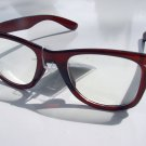 WAYFARER STYLE CLEAR LENS GLASSES DARK BROWN FRAMES RETRO LOOK