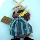 "GIRL PUPPET MARIONETTE IN TRAD COSTUME WITH VIOLIN 9"" HIGH COLLECTABLE"