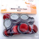 120 METAL CROWN CAPS 26MM RED BEER MAKING BOTTLE CAPS